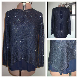Miracle USA Size M L Blue Sparkly Sequined Blouse